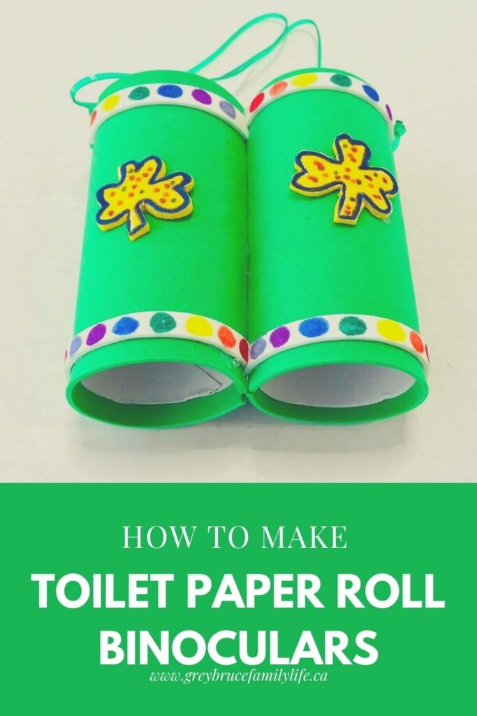How to Make Toilet Paper Roll Binoculars! This fun and easy craft is perfect for St. Patrick's Day or any time of year!